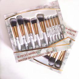 Wholesale Beauty Logos - 10pcs Professnial Women Makeup Brushes Extremely Soft Makeup Brush Set Foundation Powder Brush Beauty Marble Make Up Tools Customize LOGO