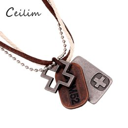 Wholesale Multi Layer Cross Necklace - Fashion new alloy cross pendant leather multi-layers necklace with bead chain and round rope vintage hemp leather necklace for men women