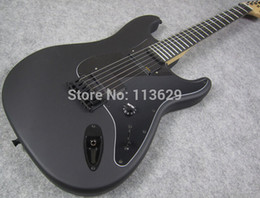 Guitarra china ebony on-line-Custom Shop Jim Root Assinatura ST Strat Ocaster Fosco Preto Guitarra Elétrica Ebony Fingerboard No Inlay OEM Personalizável China Cópia Da Guitarra
