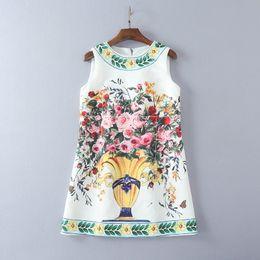 Wholesale S Line Mini S3 - Free Shipping 2017 Vest Dress Flora Print Summer Crew Neck A Line Above Knee Mini Sleeveless Jacquard Cotton Thin Women Clothes S3