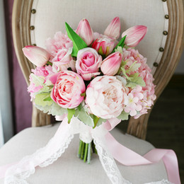 Wholesale Beach Pink Bouquet - Exquisite Light Pink Wedding Bridal Bouquets Hydrangea Peony Moisturizing Feel Tulips Country Beach Wedding Supplies Bride Holding Bouquets