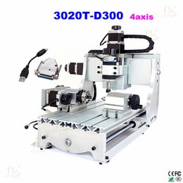 Wholesale Mini Metal Milling Machine - mini CNC router machine 3020T-D300 4 axis Router milling machine Easily drilling milling for wood metal working russian free taxes