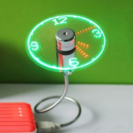 Wholesale Gadget Led - Creative Adjustable Mini USB Fans With LED Time LED Clock Fan LED Light Display Cool Gadget