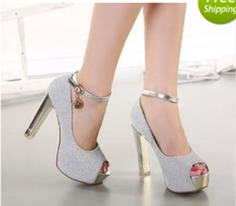 Рыбий стиль обуви онлайн-Новый стиль серебряный Алмаз рыбы рот пряжки Тайвань высокий каблук сандалии вечерние свадебные свадебные туфли