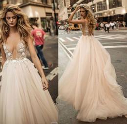 Wholesale Embellished Neckline Dress - 2017 Berta Bridal Champagne Summer Wedding Dresses Sexy Backless Deep V Neckline A-Line Bridal Gown Heavily Embellished Bodice Wedding Gowns