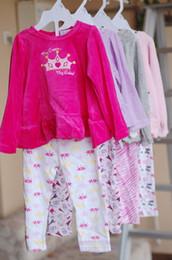 Wholesale Purple Kids Tops Shirts - 2017 new Spring Autumn children girls clothing sets print clothes velvet tops t shirt cotton leggings pants baby kids 2pcs suit