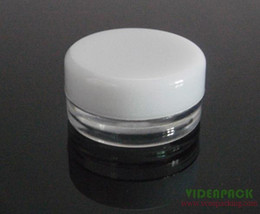 Wholesale 3g Jars - 100pcs lot clear 3g 3ml plastic cream jar for loose powder cream cosmetic container