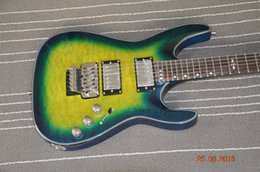 Wholesale Quilted Mahogany - Real photos show 6 string electric guitar Diamon line Hellraiser Custom guitar Floyd rose EMG pickups Green Quilted maple