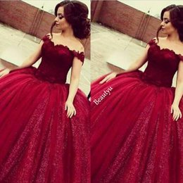 Wholesale Sexy Shiny Shorts - Girls Sweet 16 Prom Quinceanera Dresses Shiny Sequins Appliques Long Puffy Ball Gown Off Shoulder Burgundy Tulle Vestido 15 Anos
