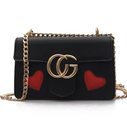 Wholesale Heart Shape Shoulder Bags - women bag heart-shaped shoulder bag high quality women small messenger bags brand leather Vintage bag chains handbag 2017 NEW