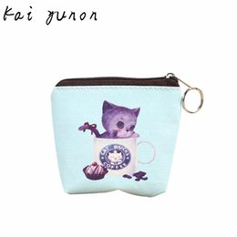 Wholesale cute zip wallets - Wholesale- kai yunon Mini Cute Cat Women Girl Leather Zip Coin Purse Key Card Bag Lady Wallet Oct 2
