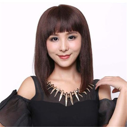 Parrucche cinesi nere online-Parrucca per capelli umani dritti 100 Parrucca Ragazza cinese piena di parrucca piena in pizzo Tessuto nero Donna piena delle mie scarpe Parrucca per capelli umani Colori # M4 / 33 Kabell