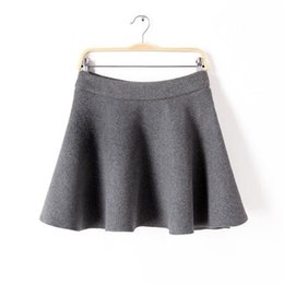 Wholesale Woolen Pleated Mini Skirt - 2017 spring skirts womens casual pleated skirt woolen mini skirt slim solid womens clothing