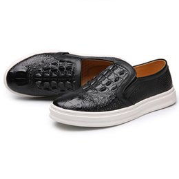 Wholesale Trendy Slip Shoes - Spring Autumn New Crocodile Letter Pattern Men's Flats Trendy Shoes Quality Genuine Leather Casual Gentleman Style Shoes Free Shipping