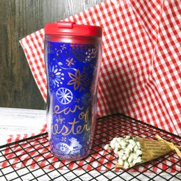 Wholesale Spring Paper Cuts - Genuine Spring Festival style Starbucks New year Paper-cut for window decoration Accompanying cup 12OZ outdoor portable blue Coffee cup gift