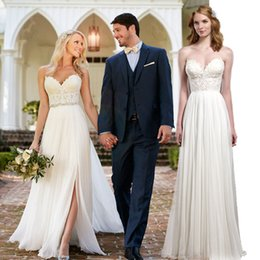 Wholesale Stretch Beach Skirts - White Wedding Dresses Strapless Split Side A line Wedding Dresses Floor length Sexy Stretch chiffion Custom Made Wedding Gown Dress 2016