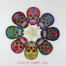 Wholesale Wholesale Embroidery Motif - 24pcs lot Flower Skull Skeleton Embroidery Iron On Patches Clothes Appliques Sew On Motif Badge DIY Clothing Bag Garment Accessories