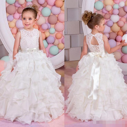 Wholesale Toddler Girl Bridesmaid Dresses - Lovely Tiered Satin Toddler Pageant Dresses Lace-Up Floor Length Ivory Lace Jewel Neck Junior Bridesmaid Dress Belt Birthday Gown Kids