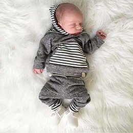 Wholesale Winter Outfits For Toddlers - 2017 Baby Boy Clothing Fall Striped Printed Hoodie Pants Clothes For Boys Fashion Toddler Cotton Gray Casual Outfits Set
