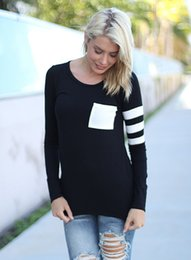 Wholesale Wholesale Long Sleeve Tshirts - Spring Autumn New 2018 Women Casual Tops Colors Patchwork Pocket Design Long Sleeved Tshirts Fashion Female Tees Vestidoes