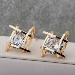 Wholesale Real Sterling Silver 925 Earings - Real Austrian Crystal Earrings Cage Gold Color Stud Earrings For Women Korean Real 925 Sterling Silver Romantic Square Earings Fashion