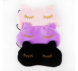 Wholesale Eye Cartoon Sleep Mask - Cucommax Cute Cat Sleeping Eye Mask Nap Cartoon Eye Shade Sleep Mask Black Mask Bandage on Eyes for Sleeping-MSK03