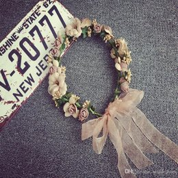 Wholesale Hats Wholes Sales - Whole-sale Women Wedding Garlands Hair Jewelry Bridal Boho Flower Headband With Straw Hat Floral Crown Hairband Hair Accessories