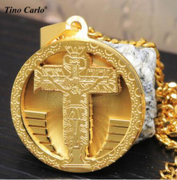 Wholesale Stainless Medal - 316L Stainless Steel Round Jesus Cross Medal Necklace Crucifixion Jesus Pendant Cuban Chain Hiphop Necklace LQ1616