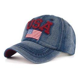 Wholesale Usa Flag Hats - Jeans Baseball Caps Adjustable Cowboy Cotton USA American Flag Baseball Cap Sun Hat Casquette Outdoor hat Mix Order 2017 New Hot Sale