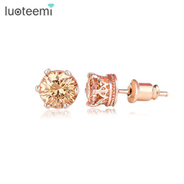 Wholesale Stud Earrings For Cheap - Luoteemi Brand Simple Design Cheap Rose Gold-Color CZ Crystal Small Stud Earrings Fashion Earring for Women Daily Wear Jewelry