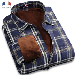 Wholesale Thick Warm Winter Mens Shirts - Wholesale- Langmeng 2016 Plus Size 5XL Winter Warm Mens Plaid Shirt men Outwear Warm Thick Dress Shirt Flannel Causal Shirts chemise homme