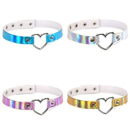 Wholesale Collared Slaves - Rainbow Love Heart Charm PU Leather Choker Necklace Collar Sub Slave Necklace for Women punk Statement Jewelry Gift