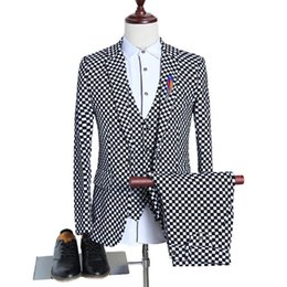 Wholesale Long Sleeve Vest For Men - tuxedo men plus size M-XXXXXL Plaid suit for man 2017 hot sale wedding suit 3 pcs blazer + pants + vest black and white suit