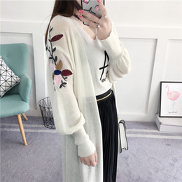 Wholesale Womens White Sweater Coat - Wholesale- Spring Long Cardigan Women 2017 Fashion Thin Flower Womens Embroidery Cardigan Summer Basic Coat Long Sweater Pink White