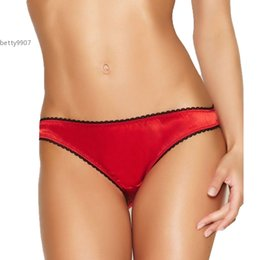 Wholesale Thong Panties String Satin - 2017 New Women sex products G-string Briefs Panties Thongs Lingerie Underwear Bow Decor Red Satin For Sleepwear