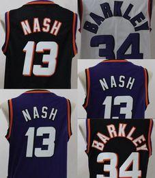 Wholesale Basketball Barkley - Basketball Jerseys High quality Cheap Men's #13 Steve Nash Jersey Throwback Mesh Charles Barkley #34 jersey 100% stitched Embroidered Logo F