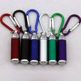 Wholesale Telescopic Lover - Fashion LED Flashlight Keychain Flashlight Telescopic Outdoors Sport Mountaineering Buckle Colorful Keyring LED Lumen Torch CCA7044 500pcs