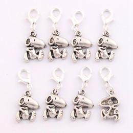 Wholesale European Beads Animals - 100pcs lot 11.5x30mm Tibetan silver Snoopy Dog Animal Clasp European Lobster Trigger Clip On Charm Beads C182
