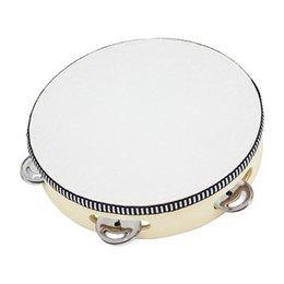 Wholesale Percussion Tambourine Drum - Wholesale- 8'' Hand Held Tambourine Children Musical Educational Tamborine With Head Drum Round Percussion Drumhead For KTV Party