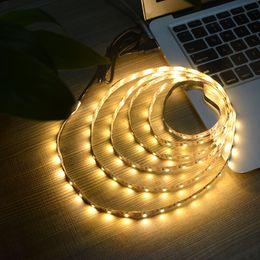 Wholesale 1m 3528 Smd - IP65 USB Cable Power LED strip light lamp SMD 3528 Christmas desk Decor lamp tape For TV Background Lighting 5V 50CM 1M 2M 3M 4M 5M