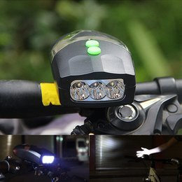 Wholesale bike horn electronic - LED Bike Bicycle Light Universal White Front Head Light Cycling Lamp + Electronic Bell Horn Hooter Siren Waterproof Lights