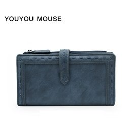 Wholesale Genuine Leather Women S Wallet - YOUYOU MOUSE New Style Retro Women 's Wallet 2 Fold Pure Color High Quality PU Leather Long Wallet Large Capacity Wallet