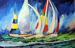 Wholesale Oil Paint Sailboat - Framed Sailboat Race Full Spinnakers Yachts Ocean,Pure Hand-painted Abstract Art Oil painting On Thick Canvas,Multi sizes,Free Shipping J038