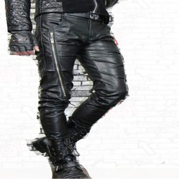 Wholesale Tights For Men Fashion - Wholesale- White red motorcycle fashion faux leather pants for men personality tight mens PU leather trousers 1 1 pants clothing
