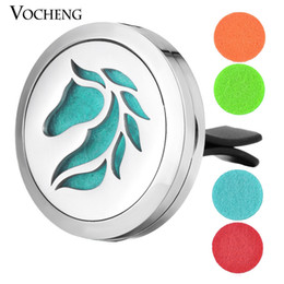 Wholesale Stainless Steel Horse Jewelry - Car Air Freshener jewelry locket clip Stainless Steel Pendant Magnetic Horse design without Oil Pads VA-418