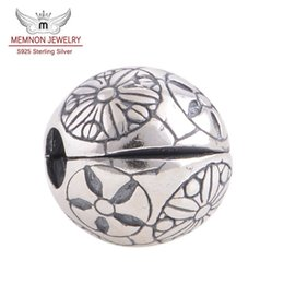 charm clip lock Coupons - Memnon Jewery Flower Pattern beads 925 Sterling Silver Lock Clip Stopper Charm Beads DIY Jewelry Fit brand bead Charms Bracelets KT045