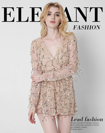 Wholesale Sleeved Gauze Dress - Europe and The United States Women's New Long Sleeved Long Lleeved High V Deep V Sexy Dress Pattern Color Gauze Net