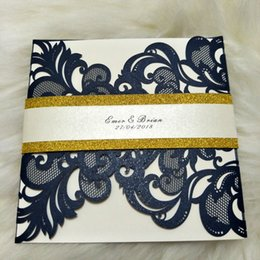 Wholesale Gray Invitations - New Design Navy Blue Laser Cut Invitation Cards for Wedding Dinner Party Birthday Graduation House Moving with Envelope 50 sets