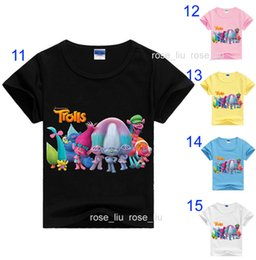 Wholesale Girls 15 Days - Free DHL 15 Style Boys girls Trolls Poppy Branch T-shirts 2017 new children cartoon Poppy Biggie Short sleeve T-shirts baby clothes B