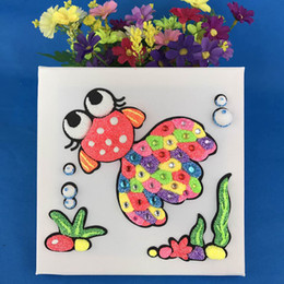Wholesale Paint Color Pearl - Fun oil painting drawing board toy snowflake mud pearl sticker painting rich color development brain awareness of color